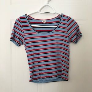blue striped garage top